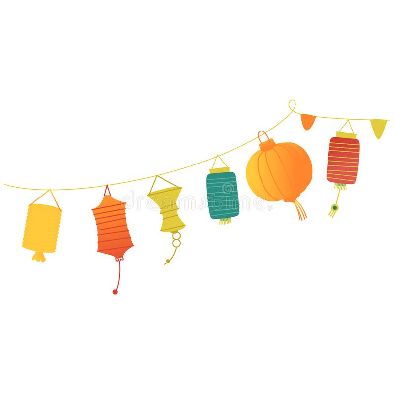 Vector festive paper lanterns on a string. Vector festive paper lanterns hanging on a string. Colorful decoration for traditional celebration. Chinese, eastern stock illustration