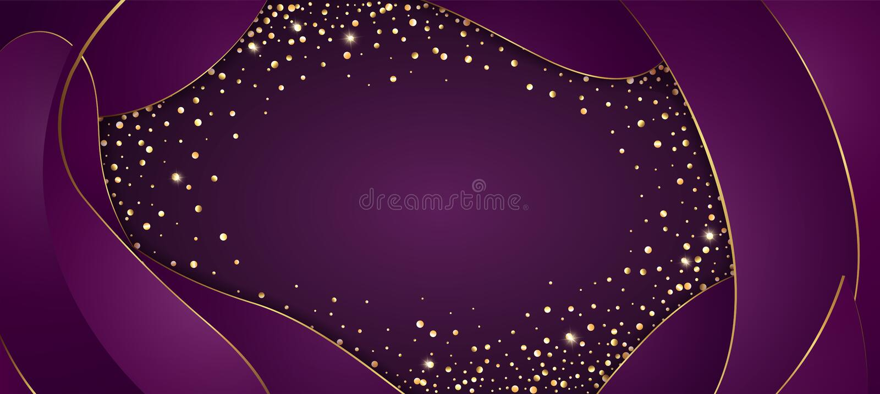 Vector festive purple background with golden glittering confetti frame for invitations, anniversary celebration birthday vector illustration