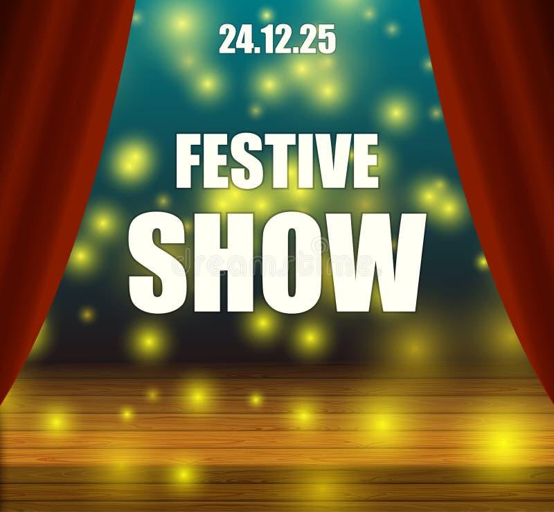 Vector Festive Show Flyer, Colorful Shining Background, Magic Light Spots. vector illustration