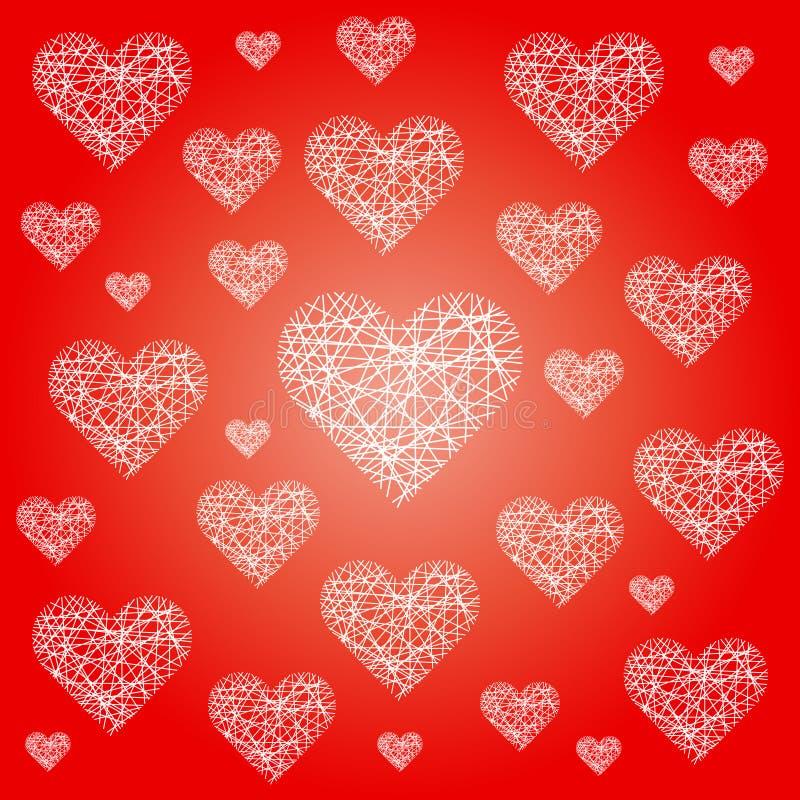 Vector festlichen Musterhintergrund des roten Valentinsgrußes mit unregelmäßigen weißen flüchtigen Herzen stock abbildung