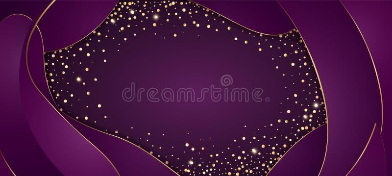 Vector festlichen purpurroten Hintergrund mit goldenem funkelndem Konfettirahmen für Einladungen, Jahrestagsfeiergeburtstag vektor abbildung