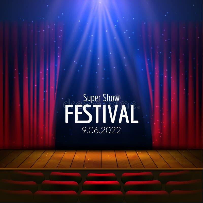 Vector festliches Design mit Lichtern und hölzerne Szene und Sitze Plakat für Konzert, Partei, Theater, Tanzschablone hölzern lizenzfreie abbildung