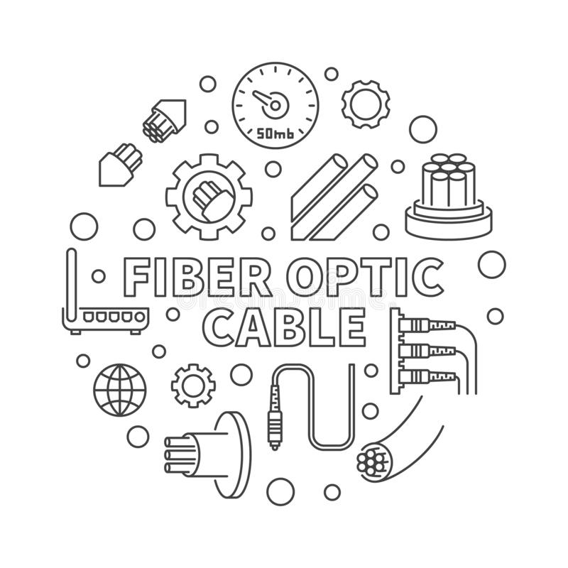 Vector Fiber Optic Cable round concept line illustration royalty free illustration