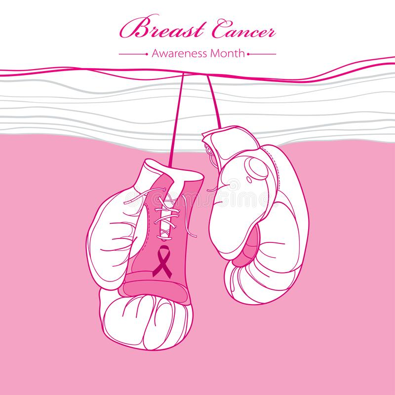 Vector fighting boxing gloves and ribbon on the pink background. Design with hanging gloves and ribbon. royalty free illustration