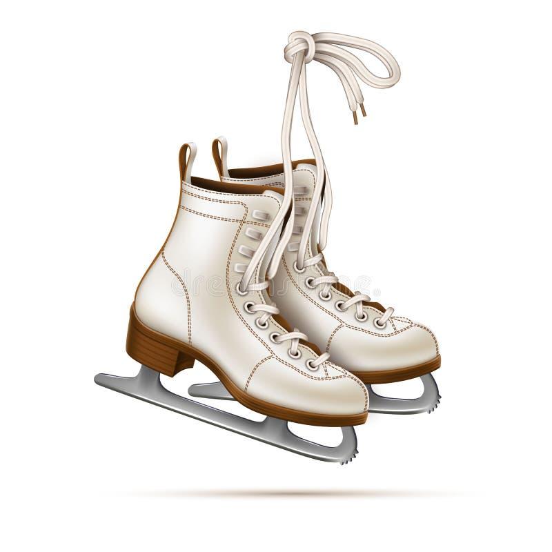 Vector a figura patins realística, patins de gelo do vintage ilustração stock