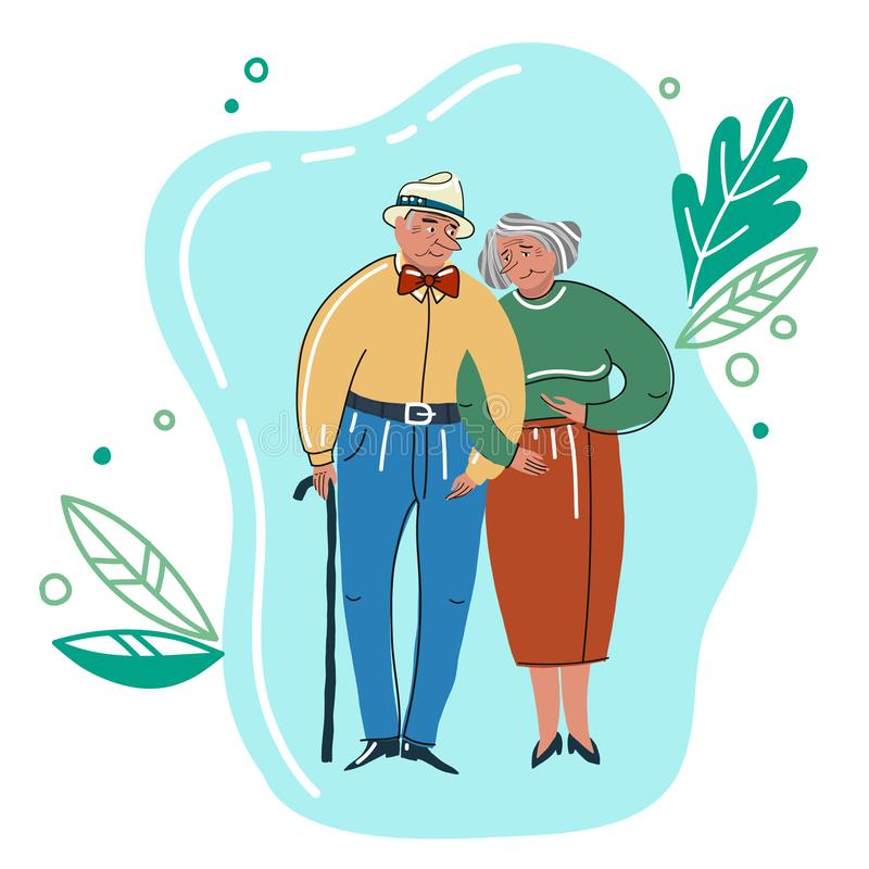 Elder humans. Aged people. Grandparents are holding hands. vector illustration
