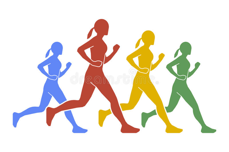 Vector figures of women runners royalty free illustration