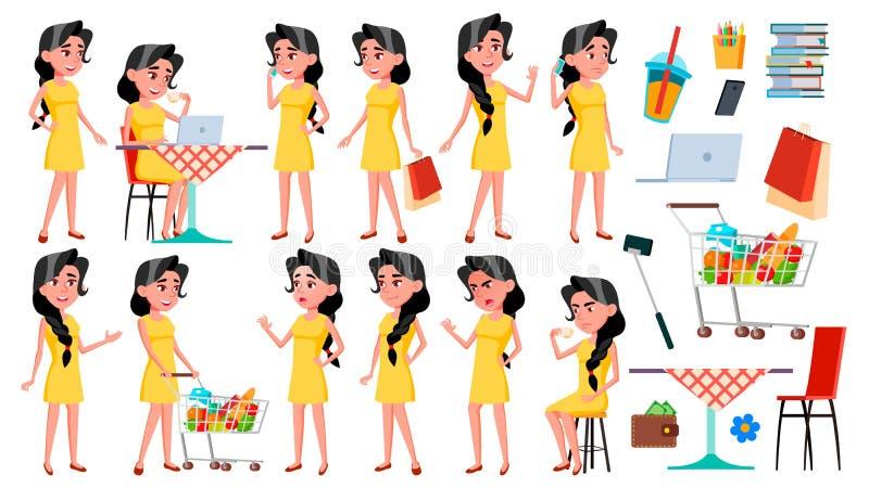 Vector fijado actitudes adolescentes de la muchacha Emocional, actitud Para hacer publicidad, cartel, diseño de la impresión Ejem stock de ilustración