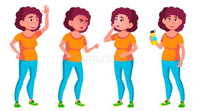 Vector fijado actitudes adolescentes gordas de la muchacha Amigos, vida Para la presentación, invitación, diseño de tarjeta Ejemp ilustración del vector