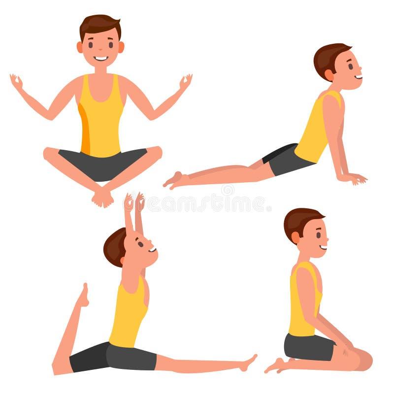 Vector fijado actitudes del hombre de la yoga Chica Ejercicio de la yoga Hacer aptitud, deporte Ejemplo plano de la historieta ilustración del vector