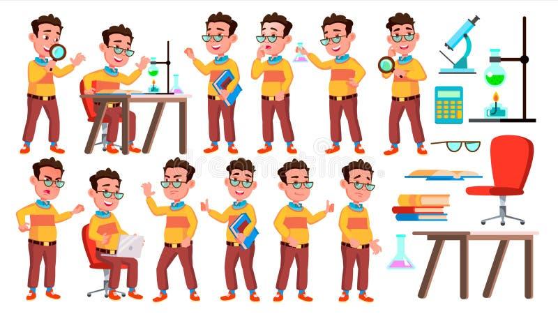 Vector fijado actitudes del niño del colegial del muchacho Alto alumno Alumno del niño Universidad, graduado, clase Para la prese stock de ilustración