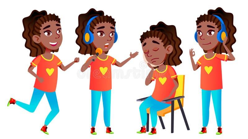 Vector fijado actitudes del niño de la colegiala de la muchacha negro Afroamericano Alto alumno alumno Divertido, amistad, felici stock de ilustración