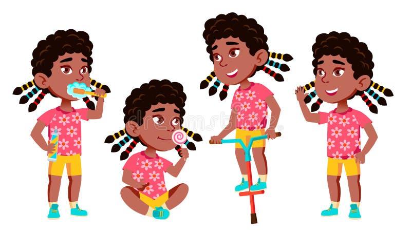 Vector fijado actitudes del niño de la guardería de la muchacha negro Afroamericano Carácter feliz de los niños hermosos para hac stock de ilustración