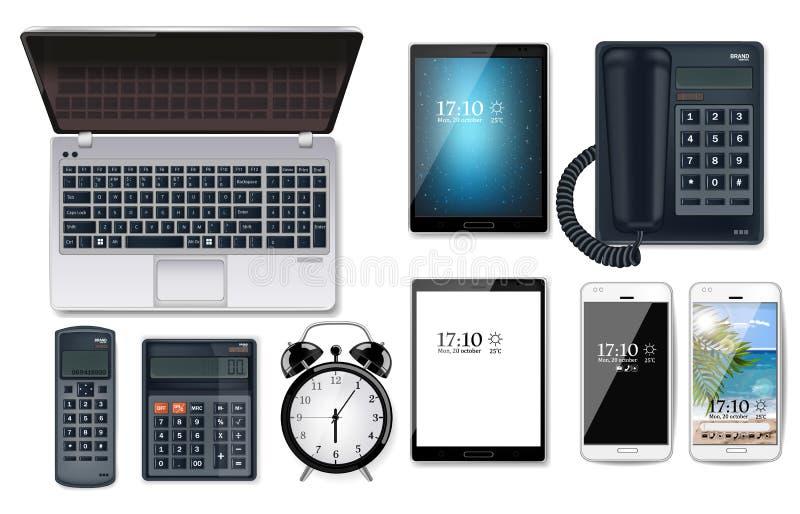 Vector fijado artilugios del negocio realista Ordenador, tableta, teléfono, calculadoras ilustración del vector