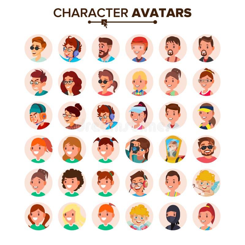 Vector fijado avatares de la gente Placeholder de Avatar del carácter del defecto Cara, emociones Plano, historieta, Art Flat Iso stock de ilustración