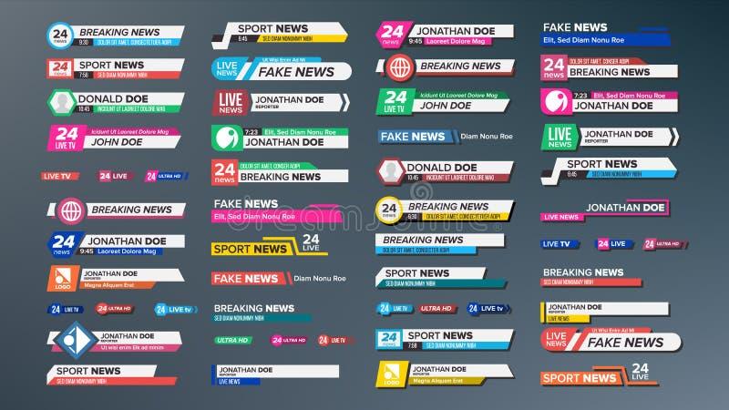 Vector fijado barras de las noticias de la TV Rompiéndose, noticias del deporte Las etiquetas de los medios marcan con etiqueta p libre illustration