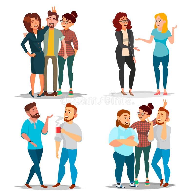 Vector fijado caracteres de los amigos Amigos de risa, colegas de oficina Situaciones de asunto El hombre y las mujeres toman una ilustración del vector