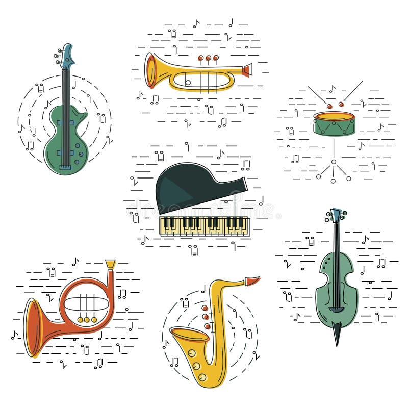 Vector fijado con el instrumento de música ilustración del vector