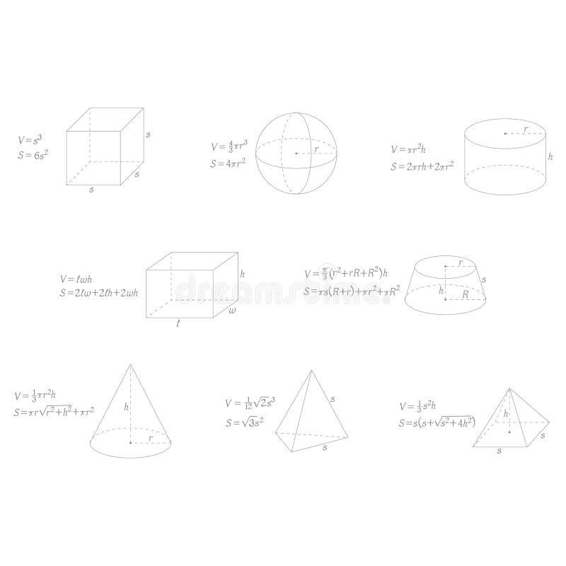 Vector fijado con fórmulas de la geometría stock de ilustración