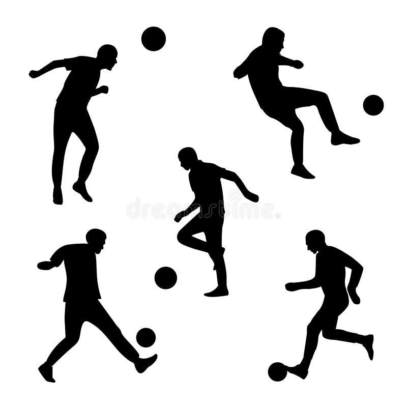 Vector fijado con jugar de funcionamiento de los hombres footbal golpeando la bola con el pie Silueta gráfica minimalista negra e stock de ilustración
