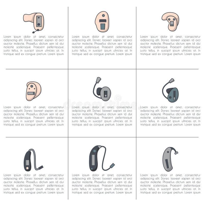Vector fijado con la línea plana iconos de los audífonos libre illustration