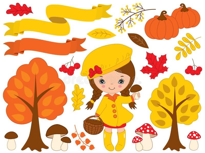 Vector fijado con la niña y Autumn Elements lindos libre illustration