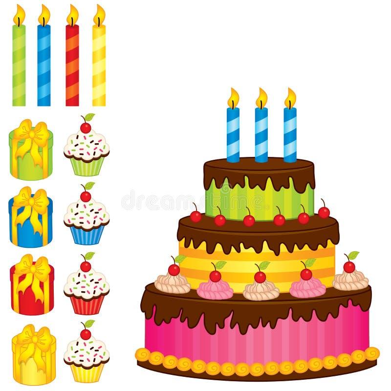 Vector fijado con la torta de cumpleaños, las velas, las magdalenas y las cajas de regalo stock de ilustración