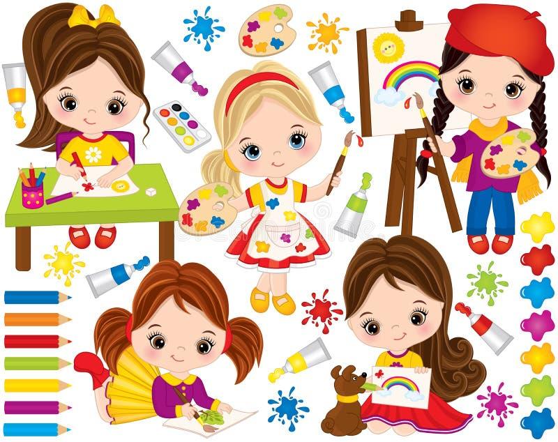 Vector fijado con las niñas y los elementos lindos de la pintura Pequeños artistas del vector stock de ilustración