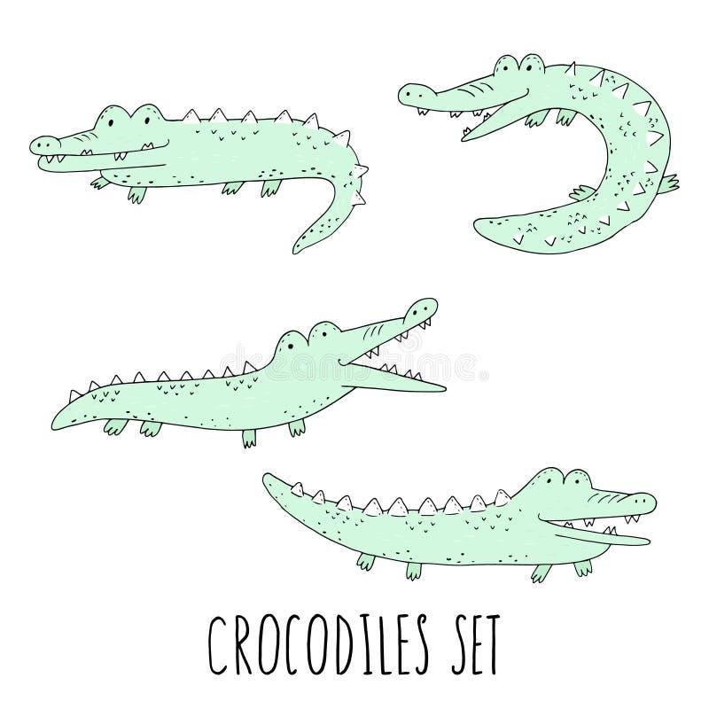 Vector fijado con los cocodrilos de la diversión Cocodrilos sonrientes de la historieta aislados en el fondo blanco ilustración del vector