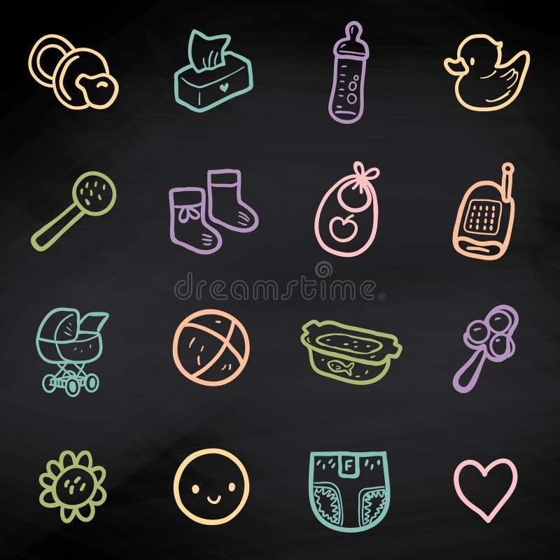 Vector fijado con los iconos incompletos del bebé Ejemplo linear de los artículos de los niños en la pizarra libre illustration