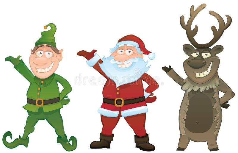 Vector fijado con Santa, el duende y Rudolph stock de ilustración