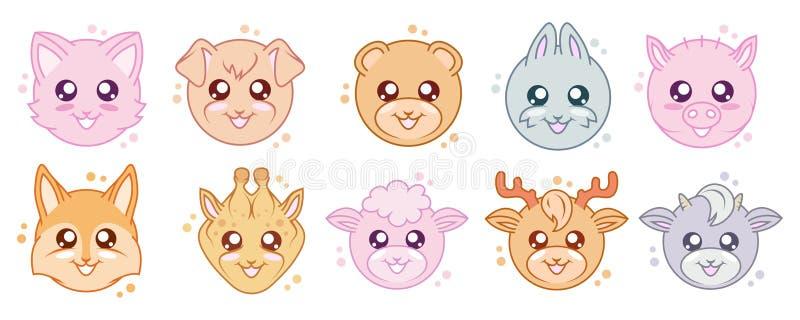 Vector fijado de animales lindos del kawaii Kawaii hace frente Animales de la historieta Conejo de Kawaii Ojos de Kawaii libre illustration