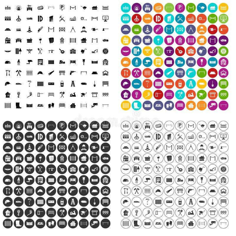100 vector fijado de la cerca iconos variable libre illustration