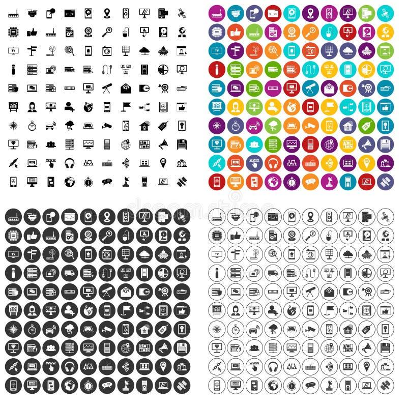 100 vector fijado de la conexión por satélite iconos variable ilustración del vector