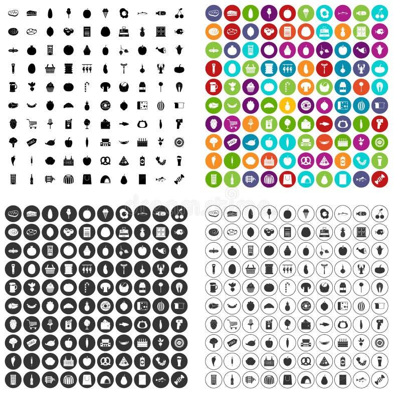 100 vector fijado de las compras iconos variable libre illustration