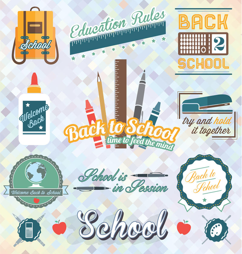 Vector fijado: De nuevo a etiquetas y a iconos de la escuela ilustración del vector