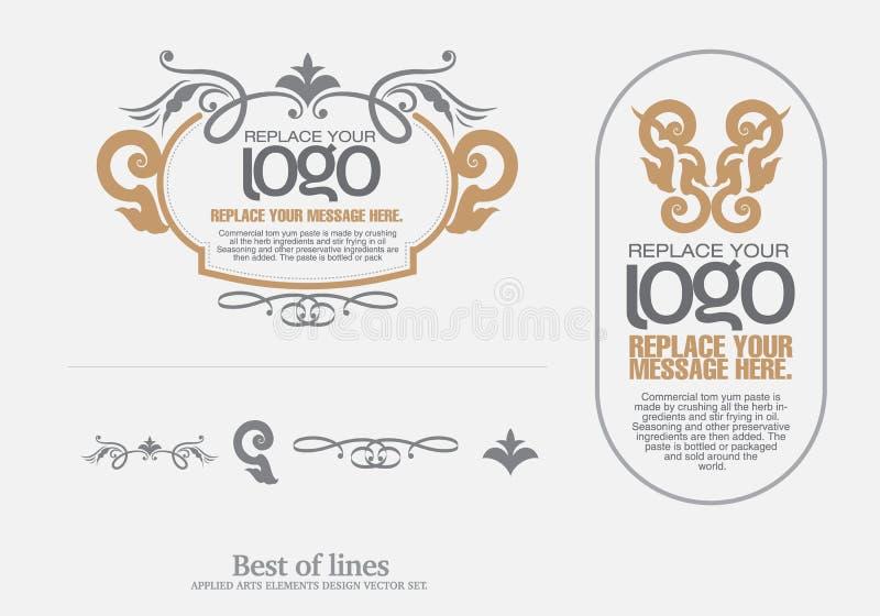 Vector fijado: elementos del diseño del arte y decoración tailandeses de la página - porciones libre illustration