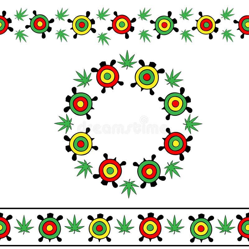Vector fijado en fondo transparente Rayas inconsútiles y marco redondo de tortugas coloridas brillantes ilustración del vector
