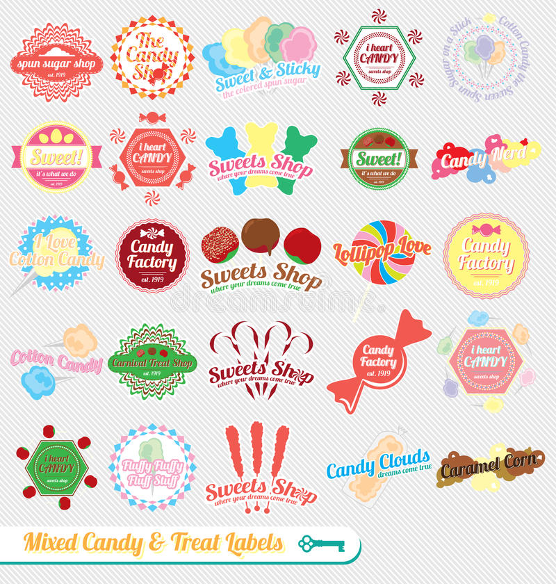Vector fijado: Escrituras de la etiqueta mezcladas retras del caramelo stock de ilustración