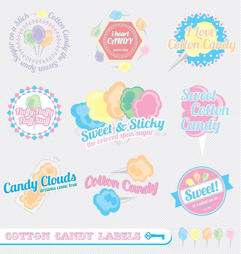 Vector fijado: Escrituras de la etiqueta retras del caramelo de algodón stock de ilustración