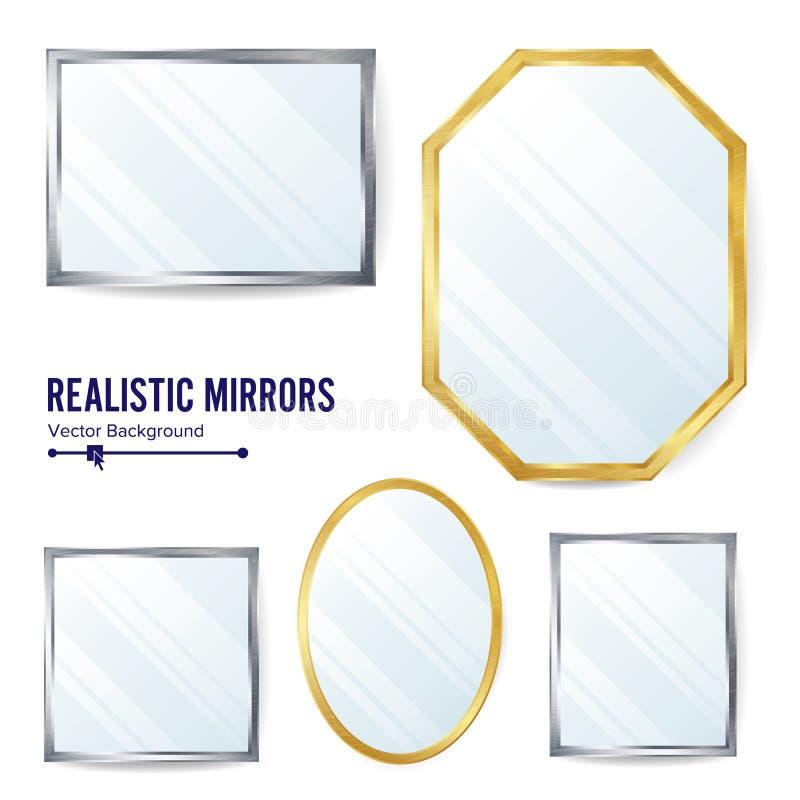 Vector Fijado Espejos Realistas Espejo De La Decoración Con La ...