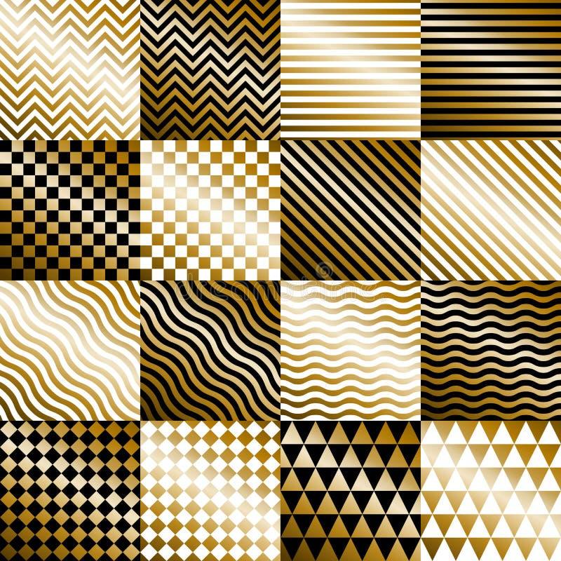 Vector fijado fondos geométricos del oro ilustración del vector