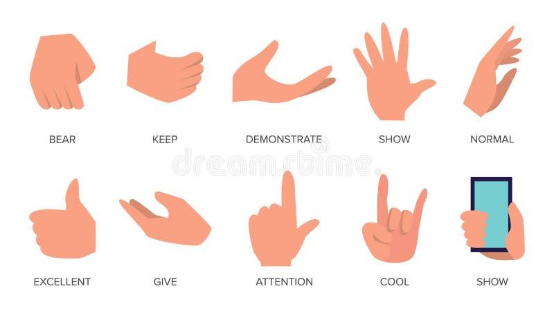 Vector fijado gestos Manos en diversas emociones El diverso brazo gesticula muestras Ejemplo aislado historieta plana stock de ilustración