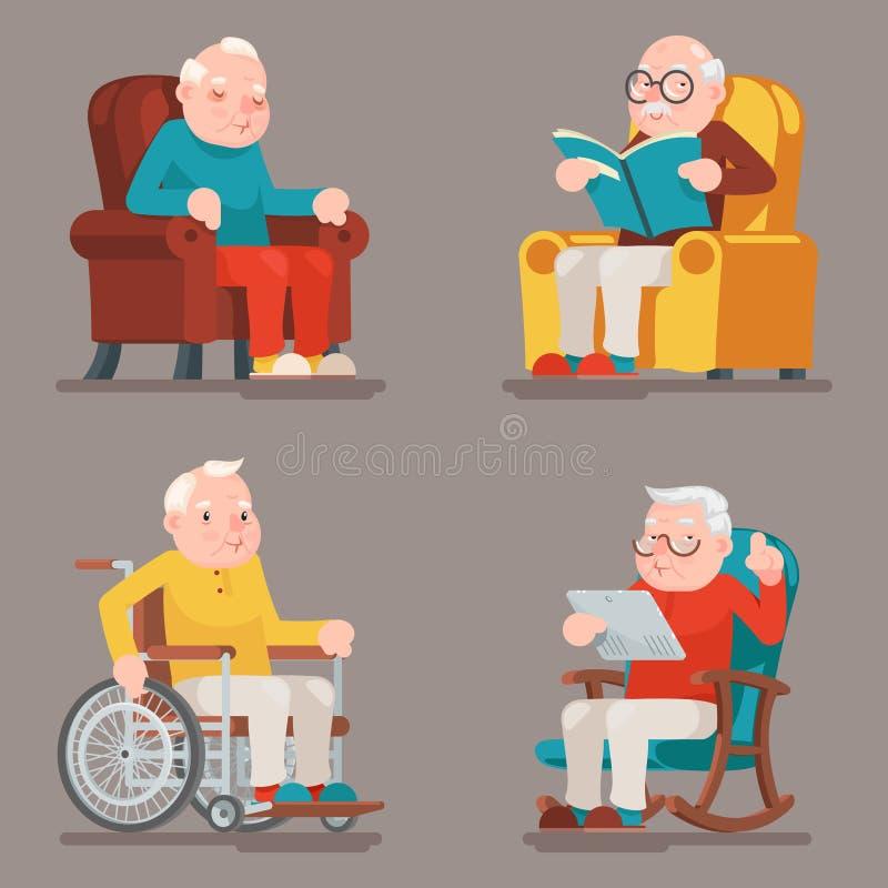Vector fijado iconos adultos de abuelo del diseño de la historieta de la silla de ruedas de la butaca de Sit Sleep Web Surfing Re ilustración del vector