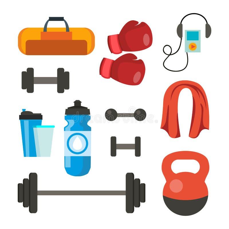 Vector fijado iconos de la aptitud El deporte equipa los accesorios Bolso, toalla, pesos, pesa de gimnasia, barra, jugador, guant ilustración del vector