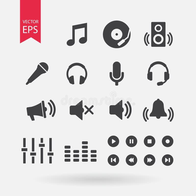 Vector fijado iconos de los sonidos Muestras de la música en el fondo blanco Elementos audios para el diseño Diseño plano del vec imagenes de archivo