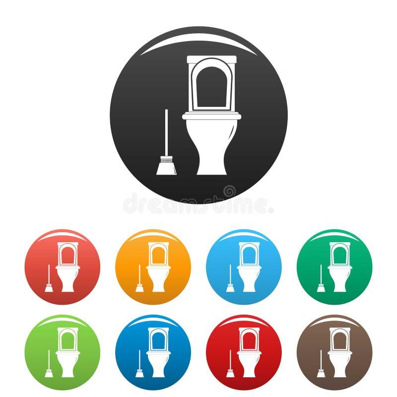 Vector fijado iconos del color del retrete de la limpieza stock de ilustración