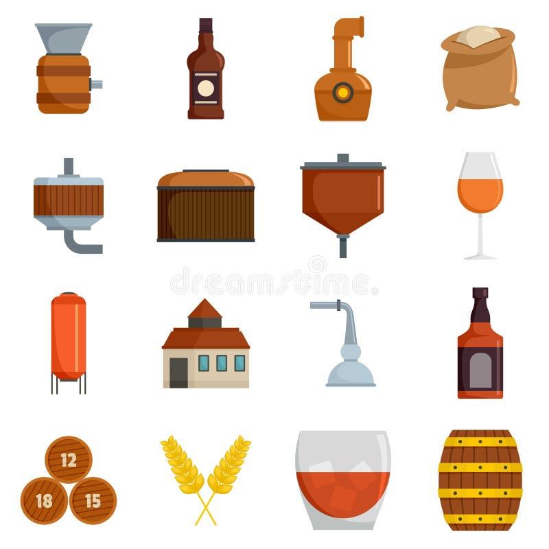 Vector fijado iconos del cristal de botellas de whisky aislado stock de ilustración