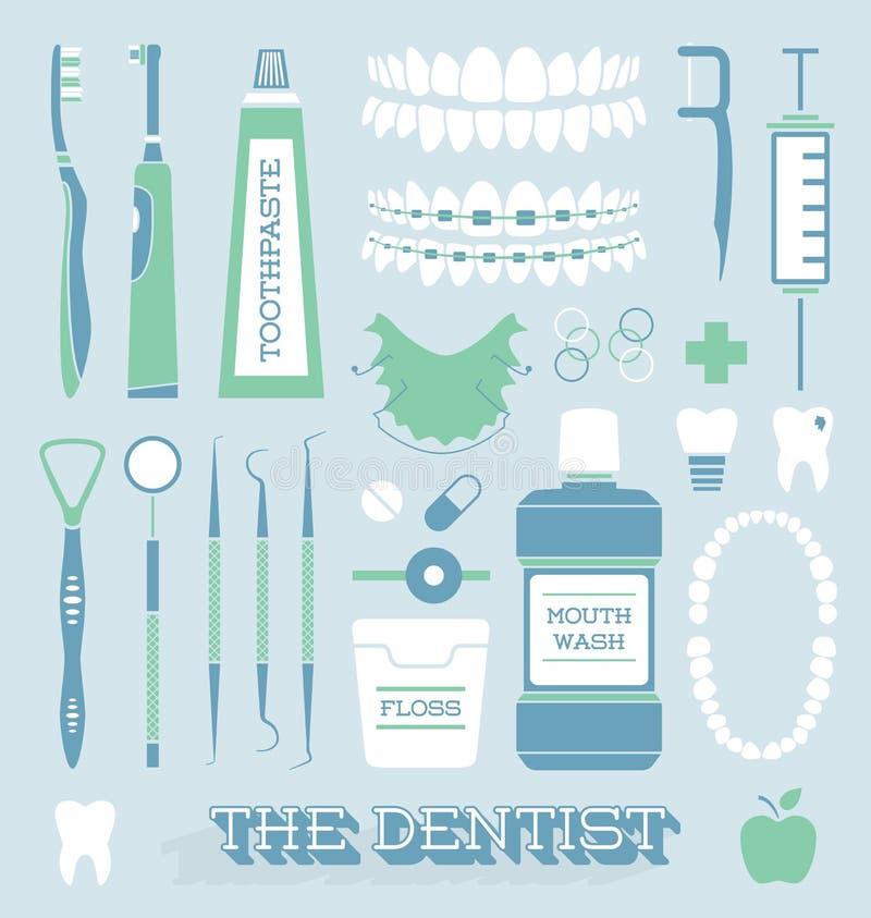 Vector fijado: Iconos del cuidado del dentista y del diente ilustración del vector