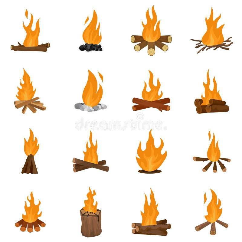 Vector fijado iconos del fuego de la noche de la hoguera aislado ilustración del vector